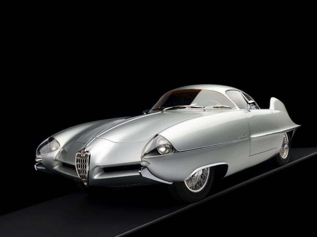 1955 Alfa Romeo Bertone B.A.T 9 Silver 3/4 Front View Studio