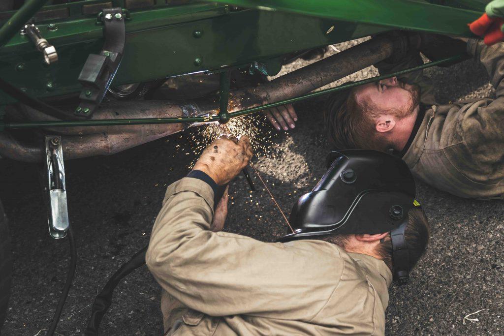 goodwood race techs weld fixing vintage car
