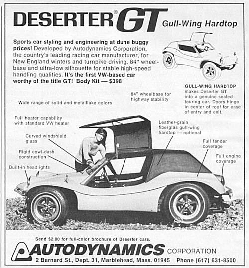 Dune Buggy Deserter GT advert