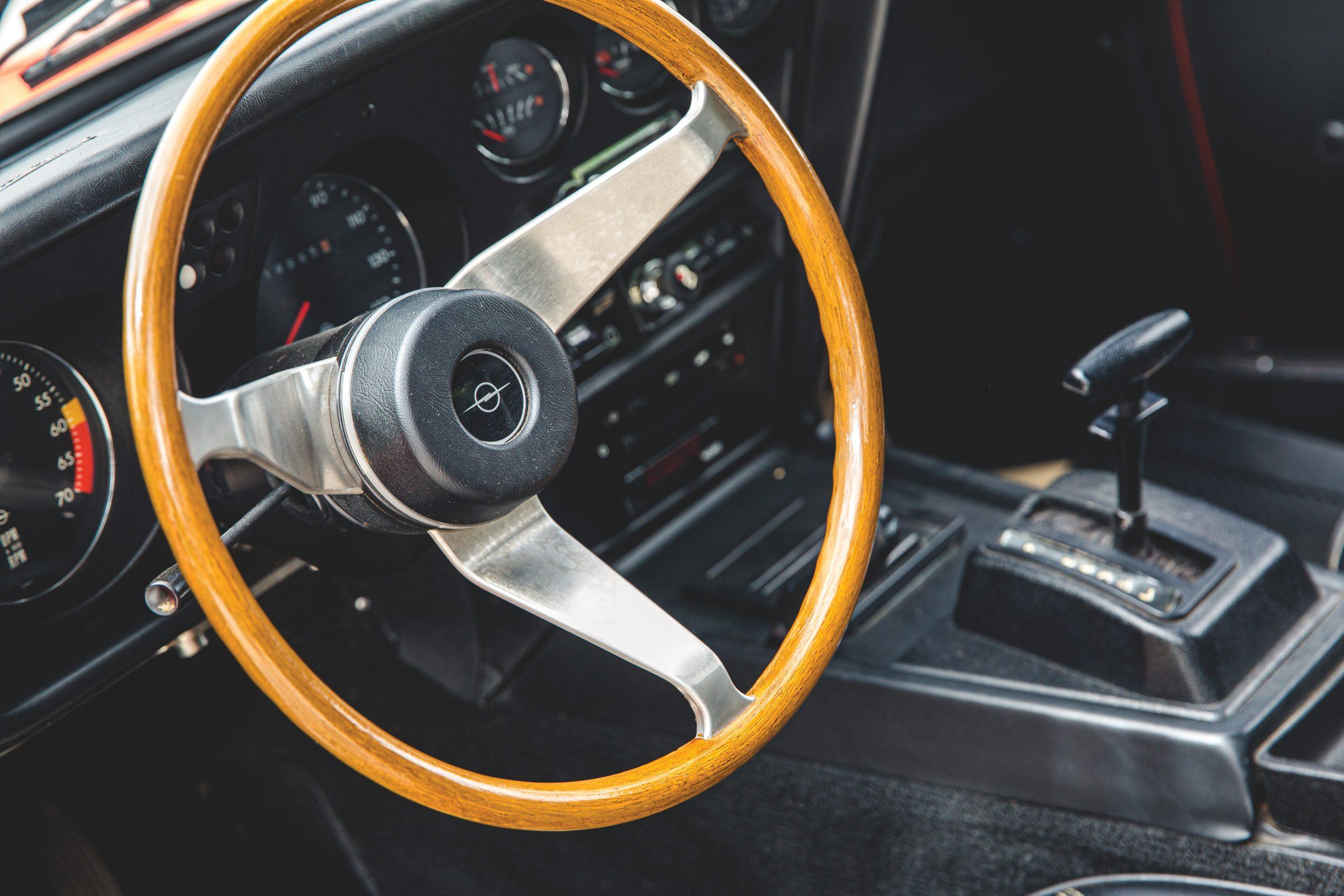 1973 Opel GT interior steering wheel detail