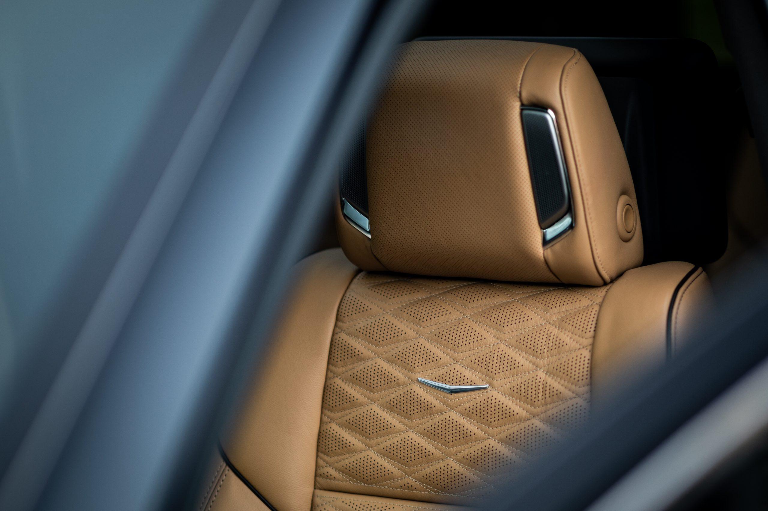 cadillac escalade interior seat headrest detail