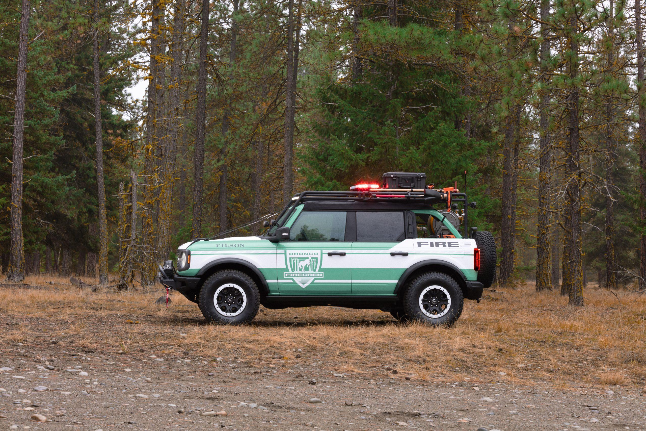 Bronco + Filson Wildland Fire Rig Concept side profile lights on