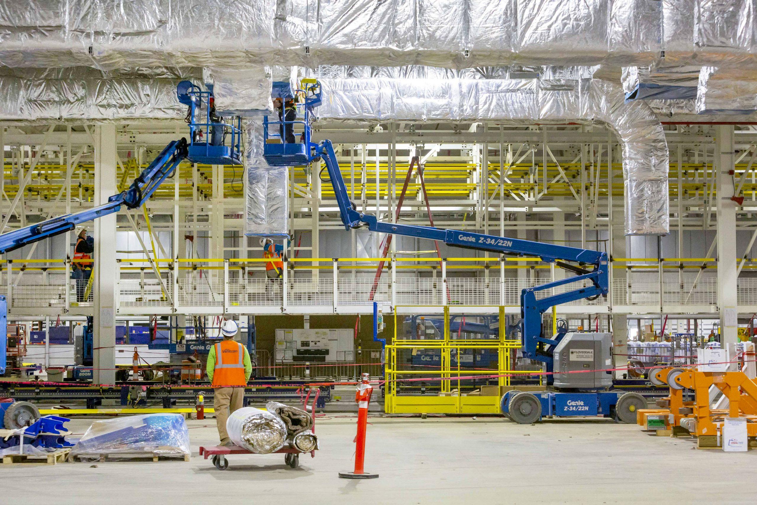 factory zero plant cranes and ducting