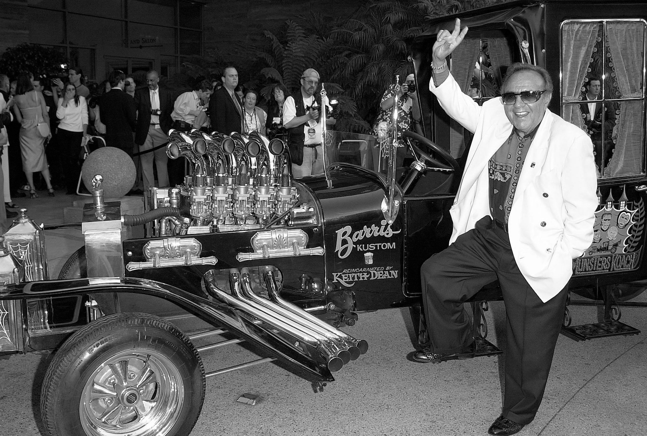 builder George Barris with his munster koach hot rod creation