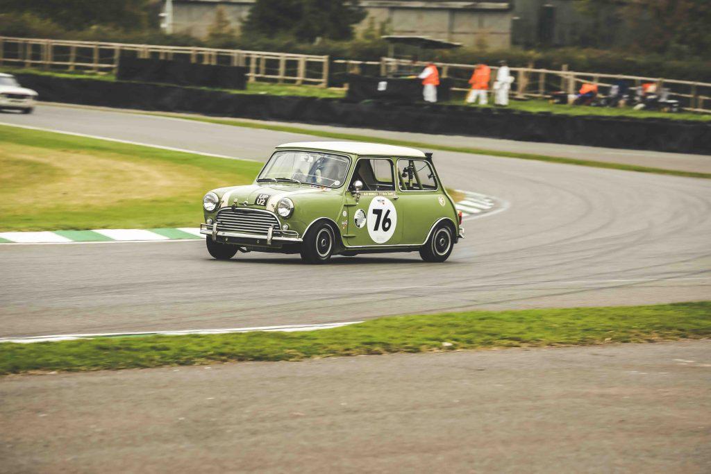 goodwood mini cooper racecar front three-quarter action