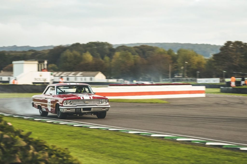 ford galaxie racecar front three-quarter action