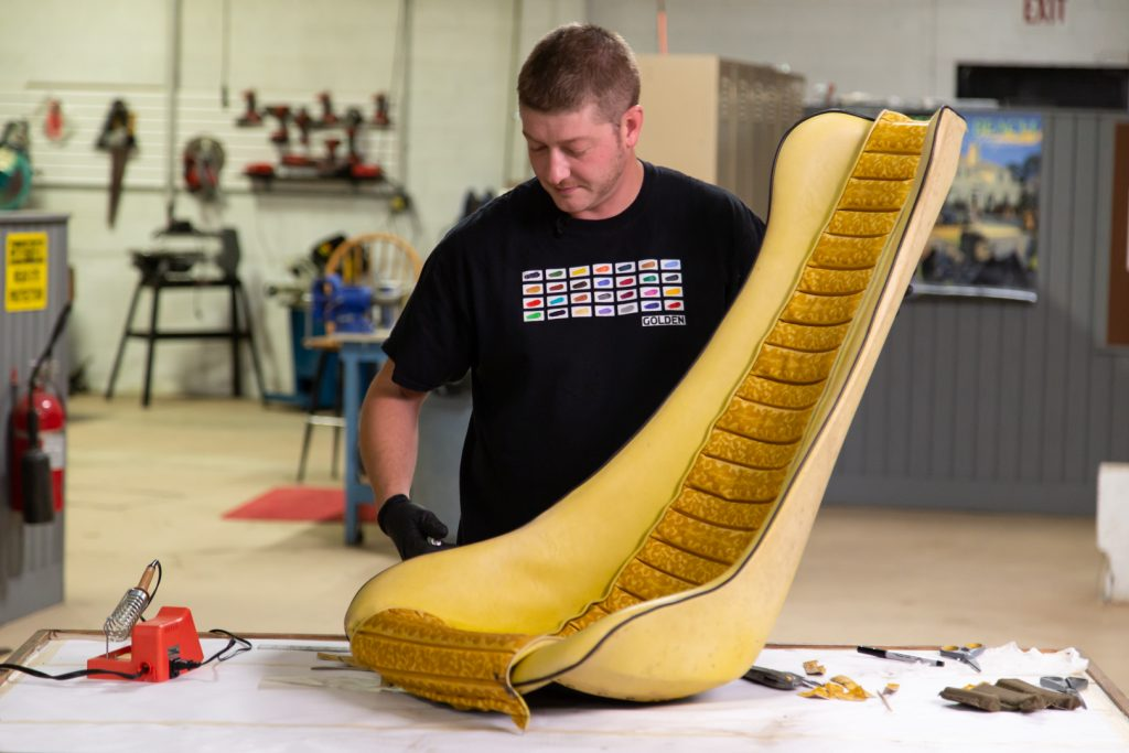 HVA - The Conservator's Mindset - Barris Fun Buggy upholstery repair - Collin Howard showing the repaired seat