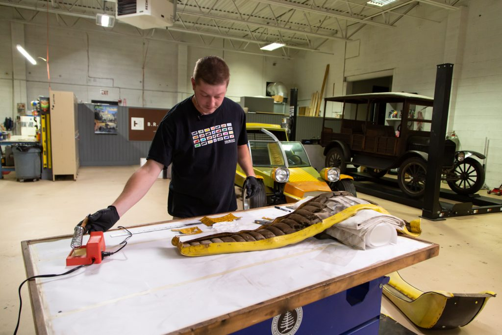 HVA - The Conservator's Mindset - Barris Fun Buggy upholstery repair - Collin Howard working