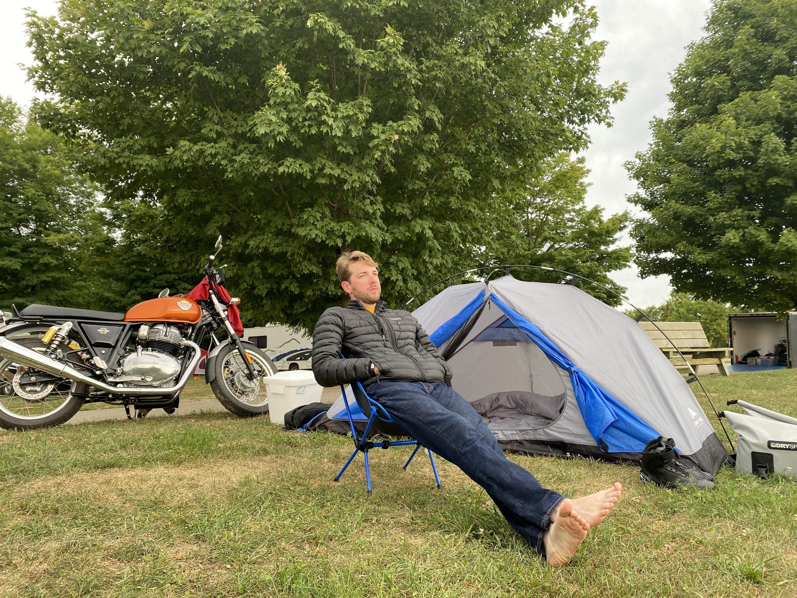 gingerman moto trip morning campsite