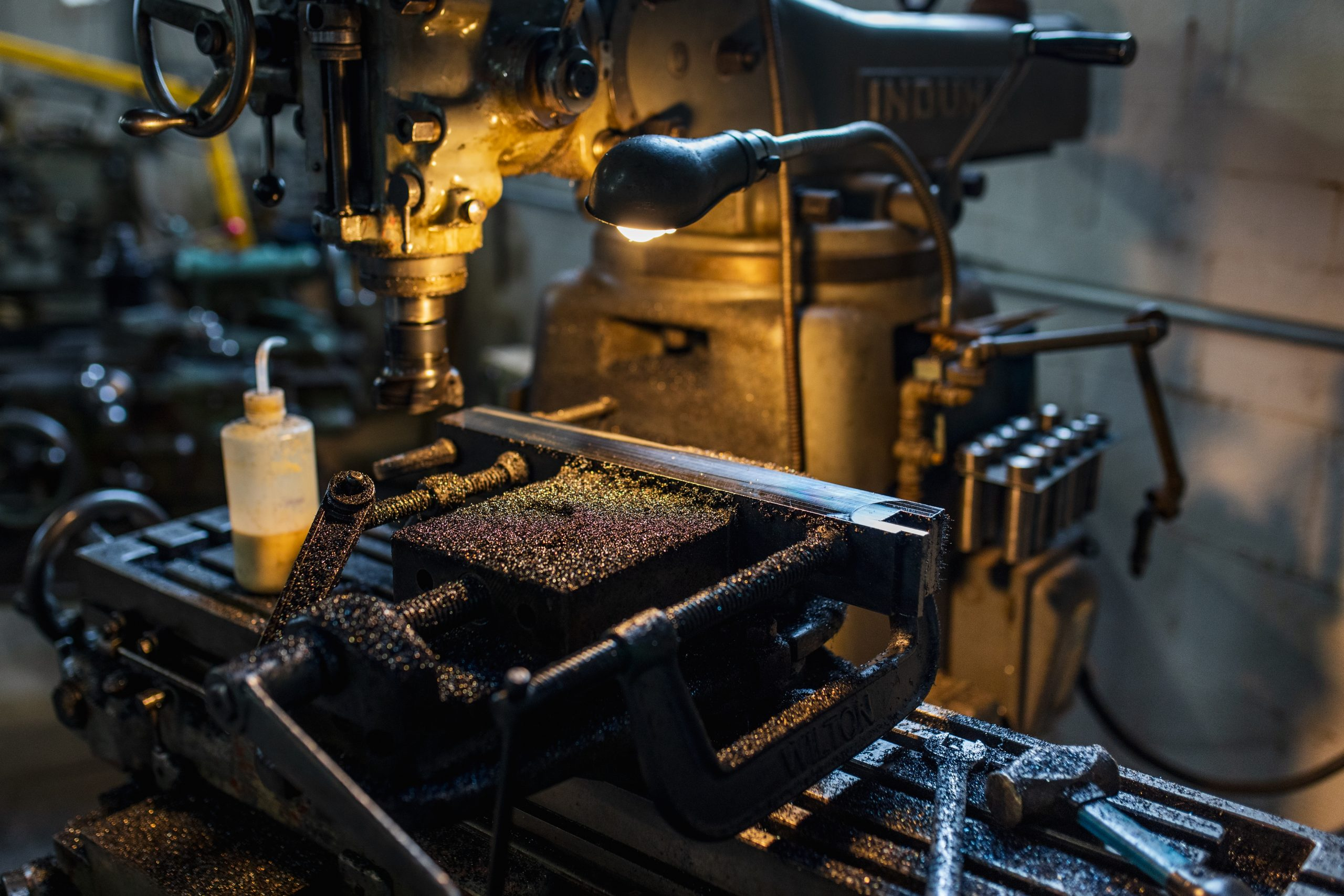 drill press and lamp close up