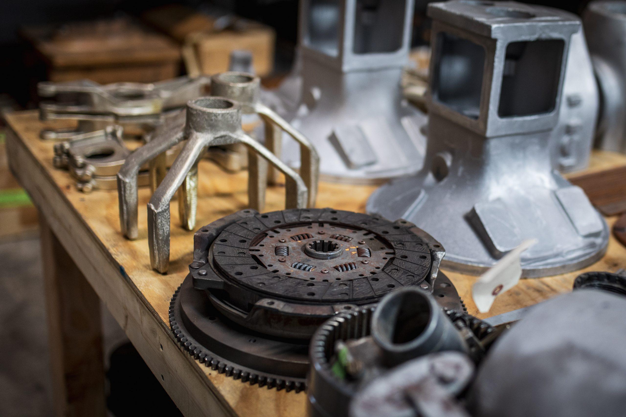 vintage flywheel on table