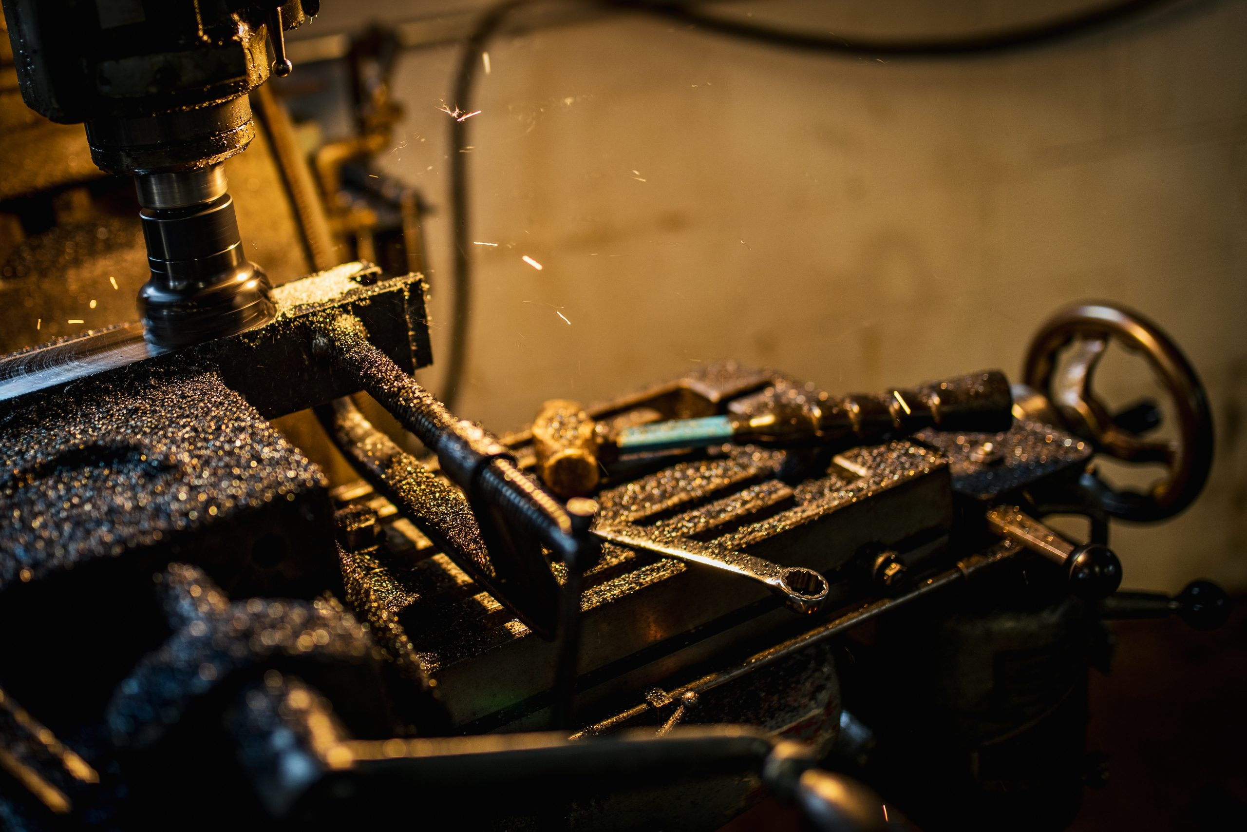 metal shaving process action close up