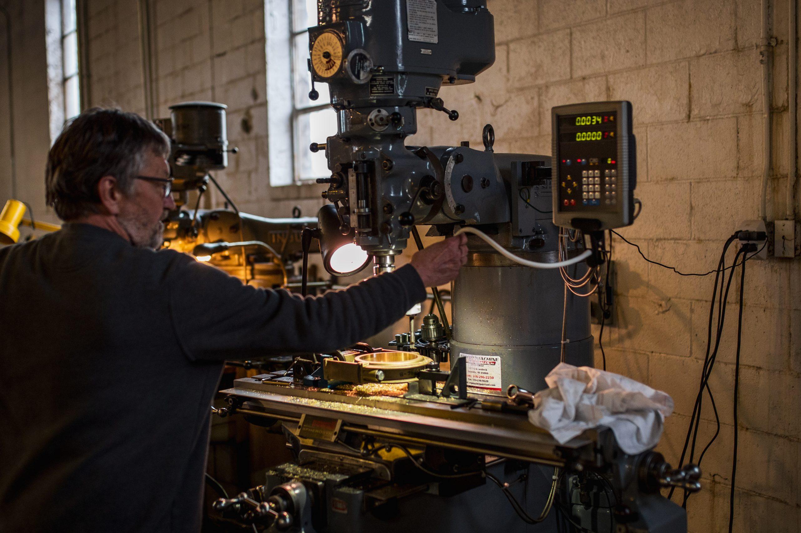 worker operating machinery
