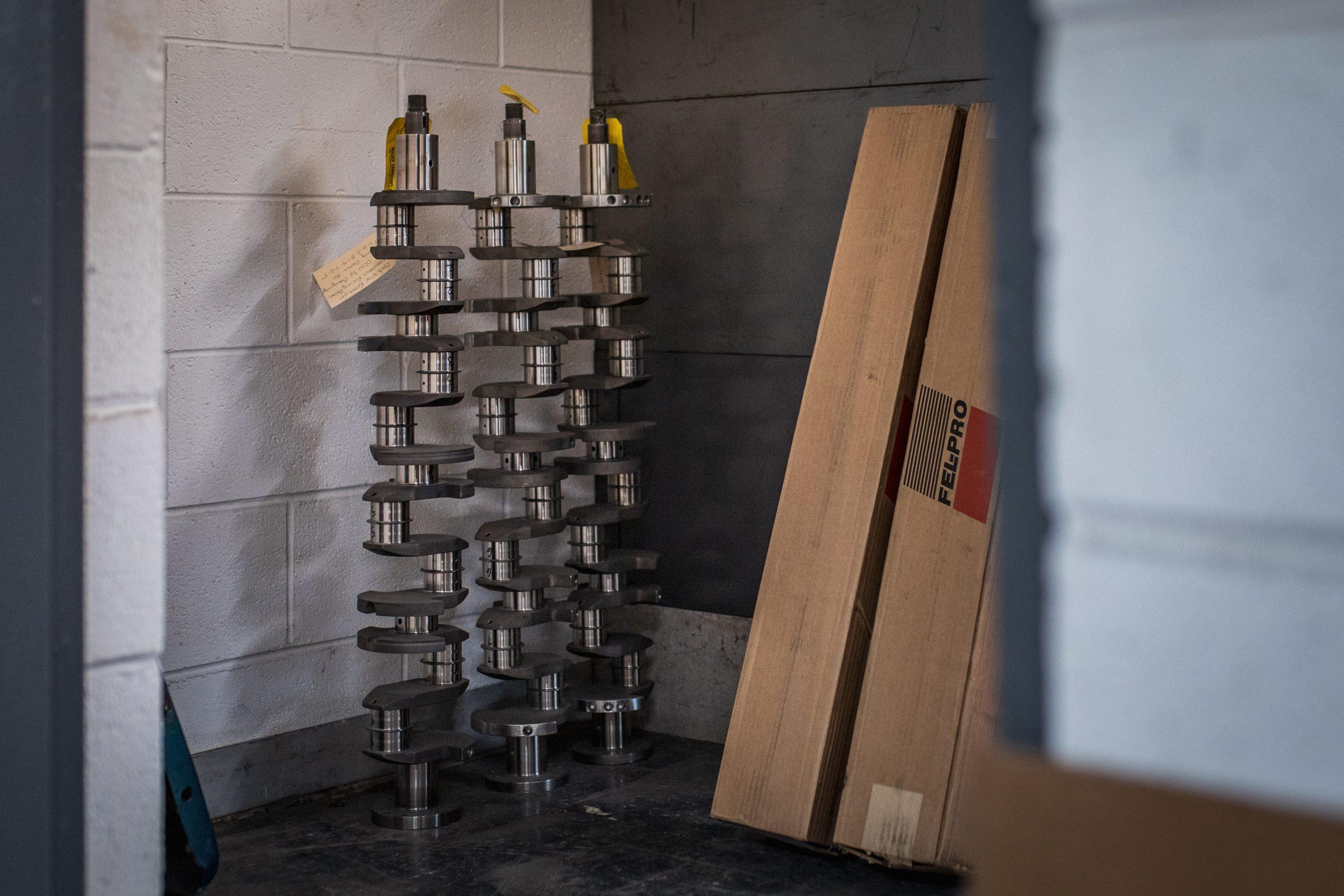 large engine shafts in machine shop