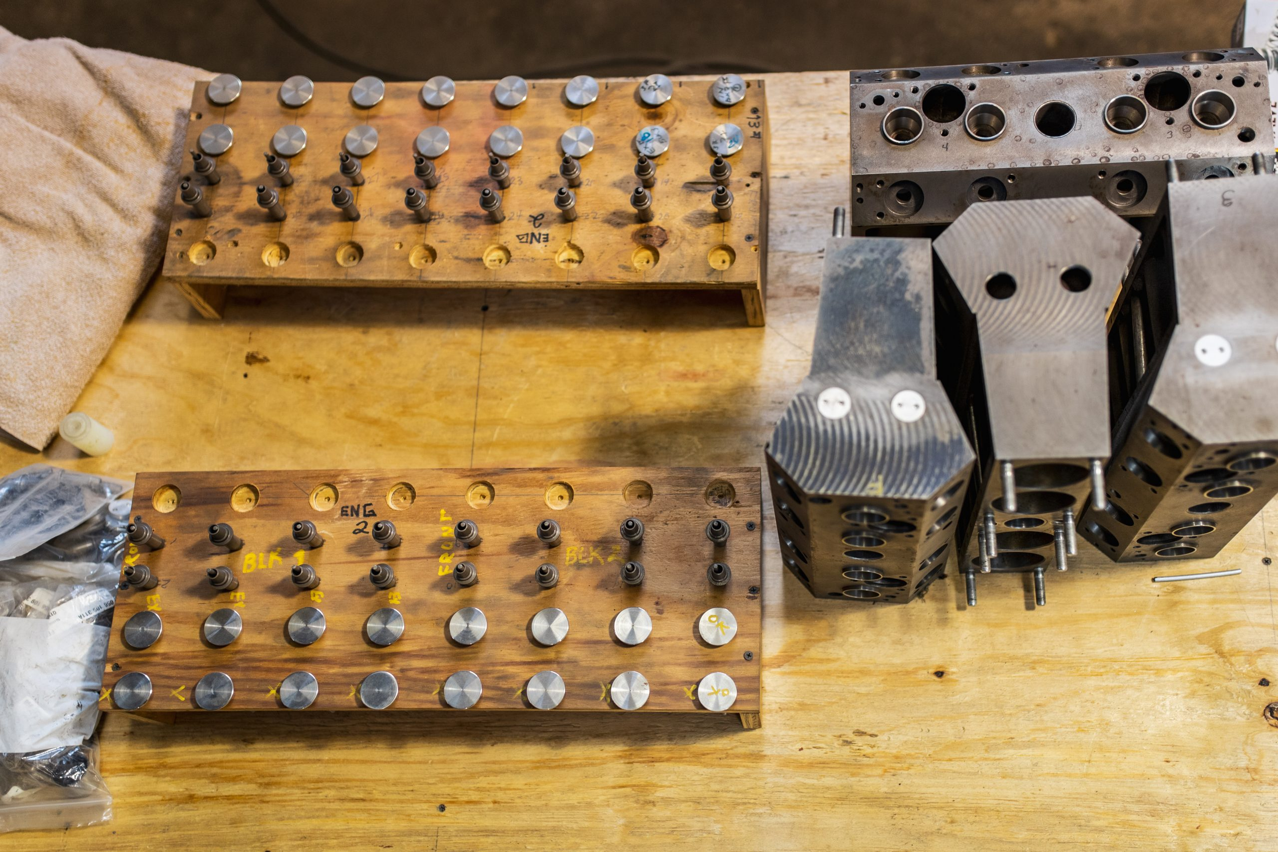 vintage parts on table