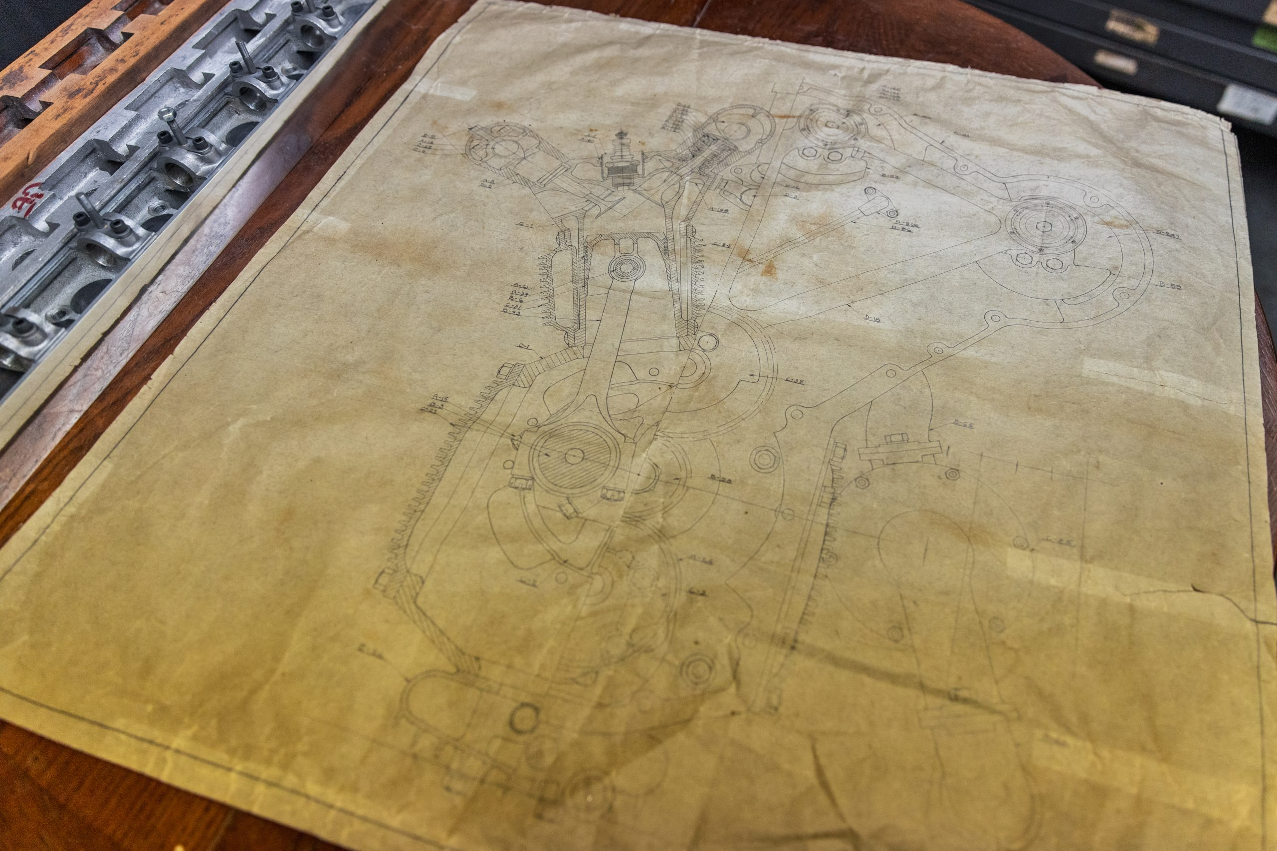 vintage mechanical auto drawing
