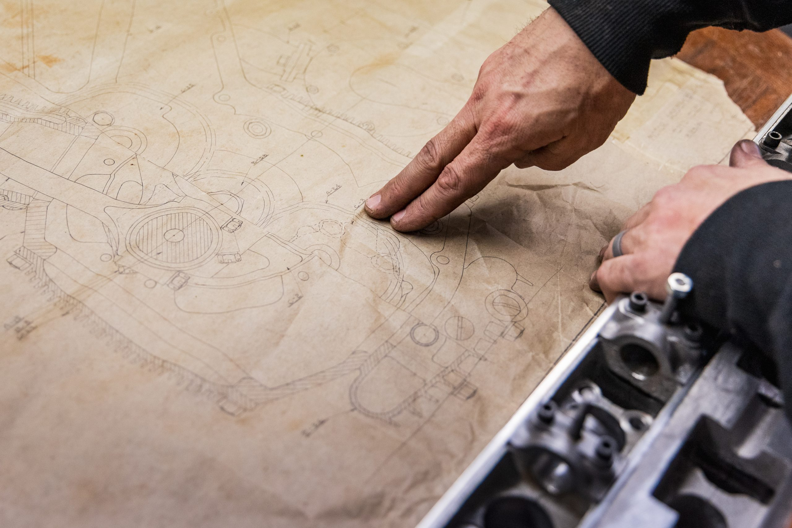 mechanical drawing hands