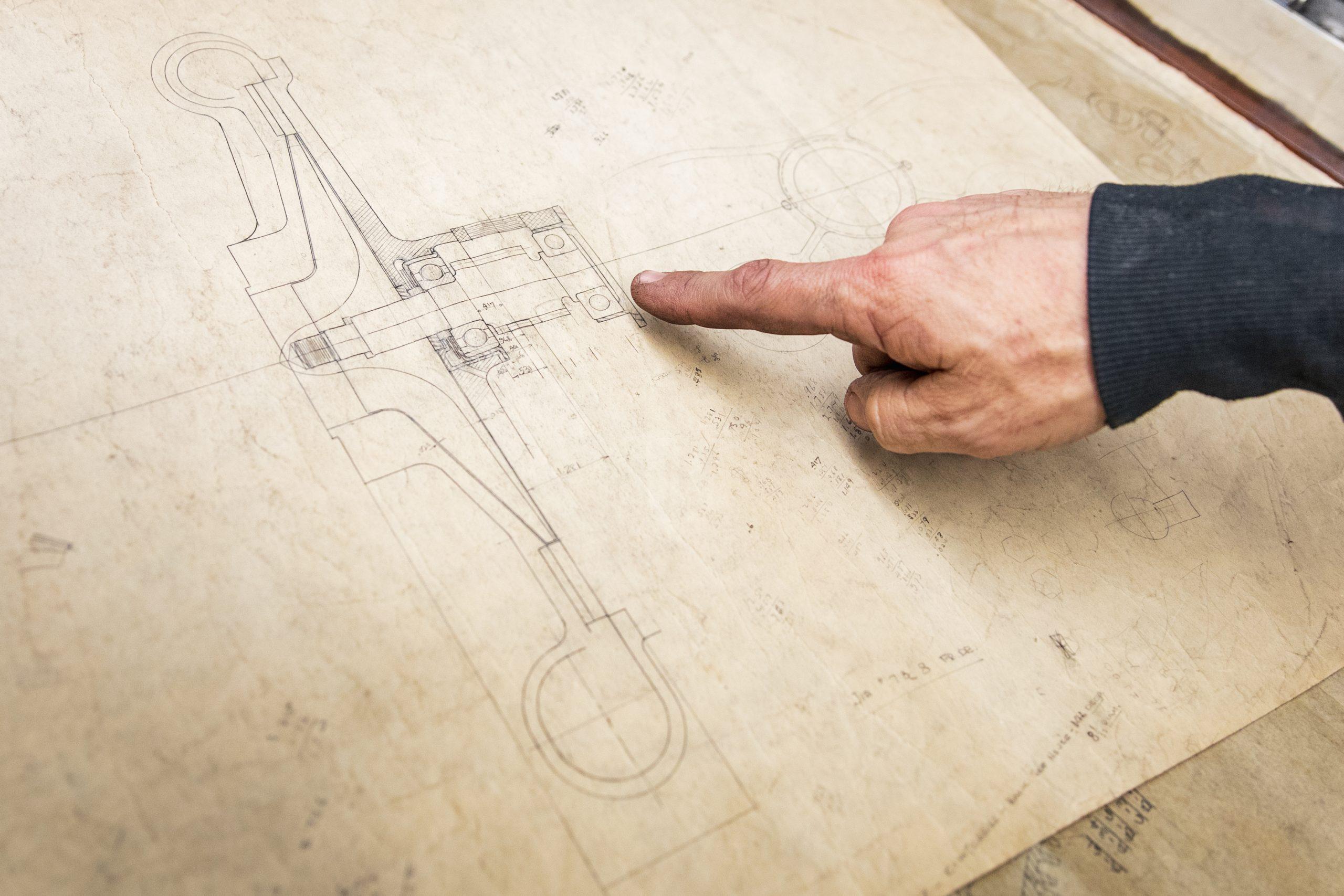 mechanical drawing hand