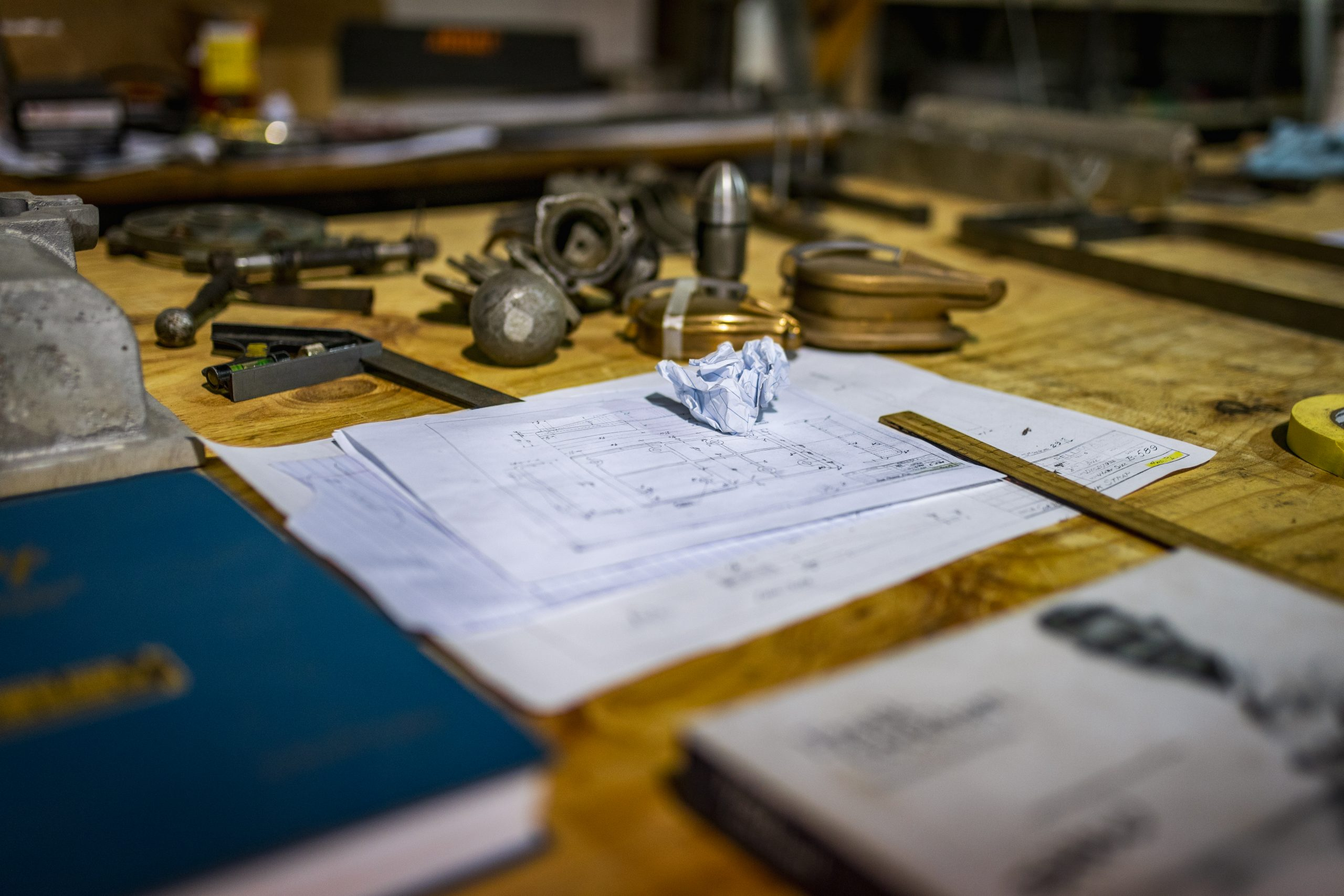 machine shop drafting close up