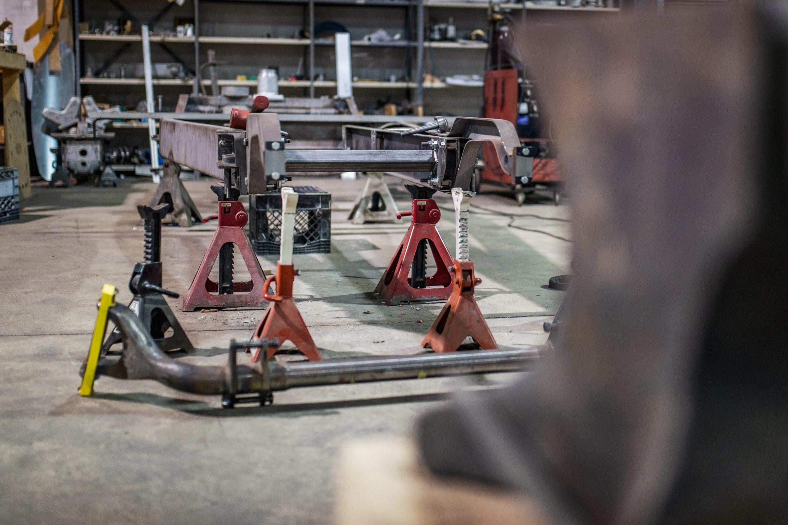 machine shop interior jack stands