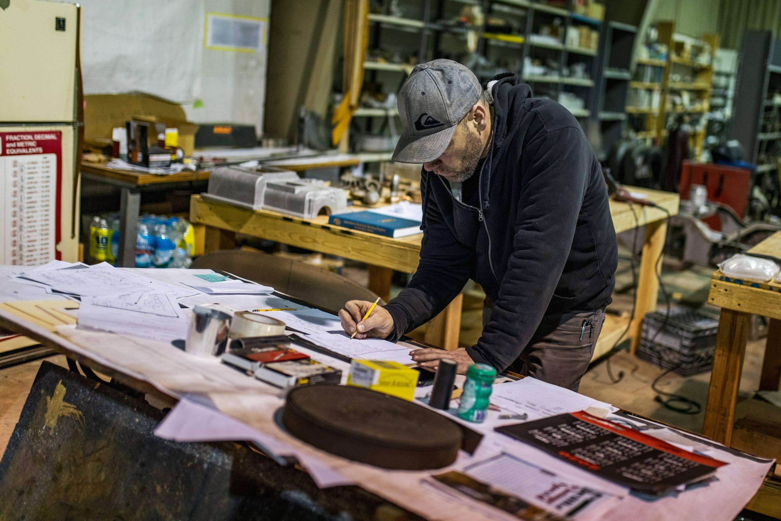 machine shop man at work