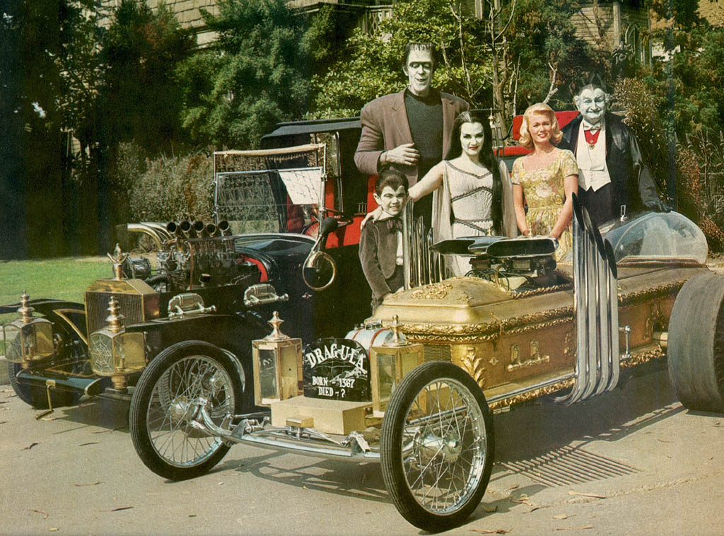munsters movie set drag u la and koach hot rod roadster cars by george barris