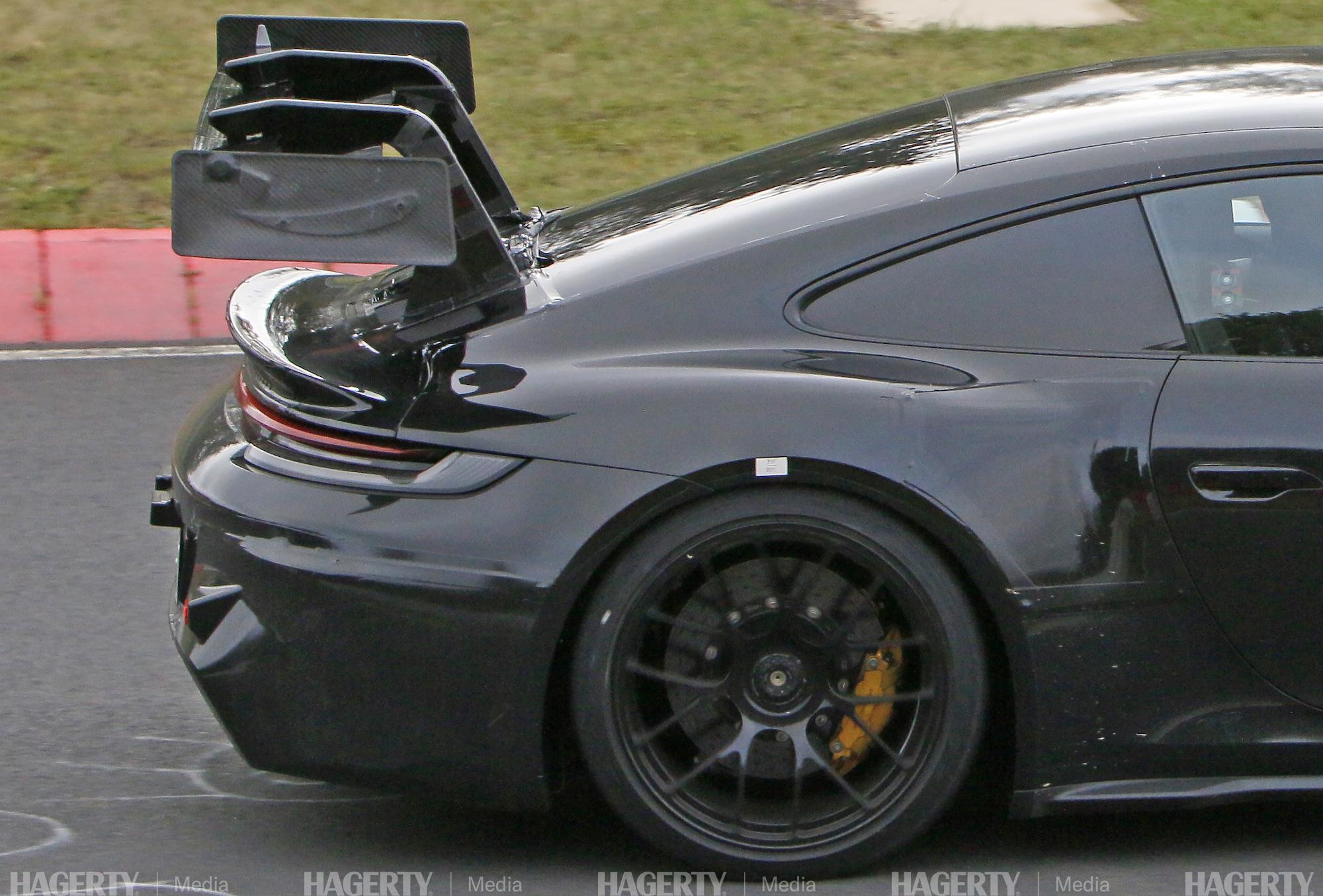 new porsche gt3 rs prototype rear quarter side profile close