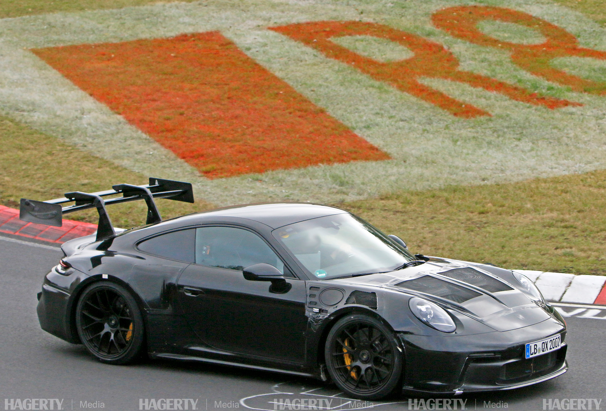 new porsche gt3 rs front three-quarter on track