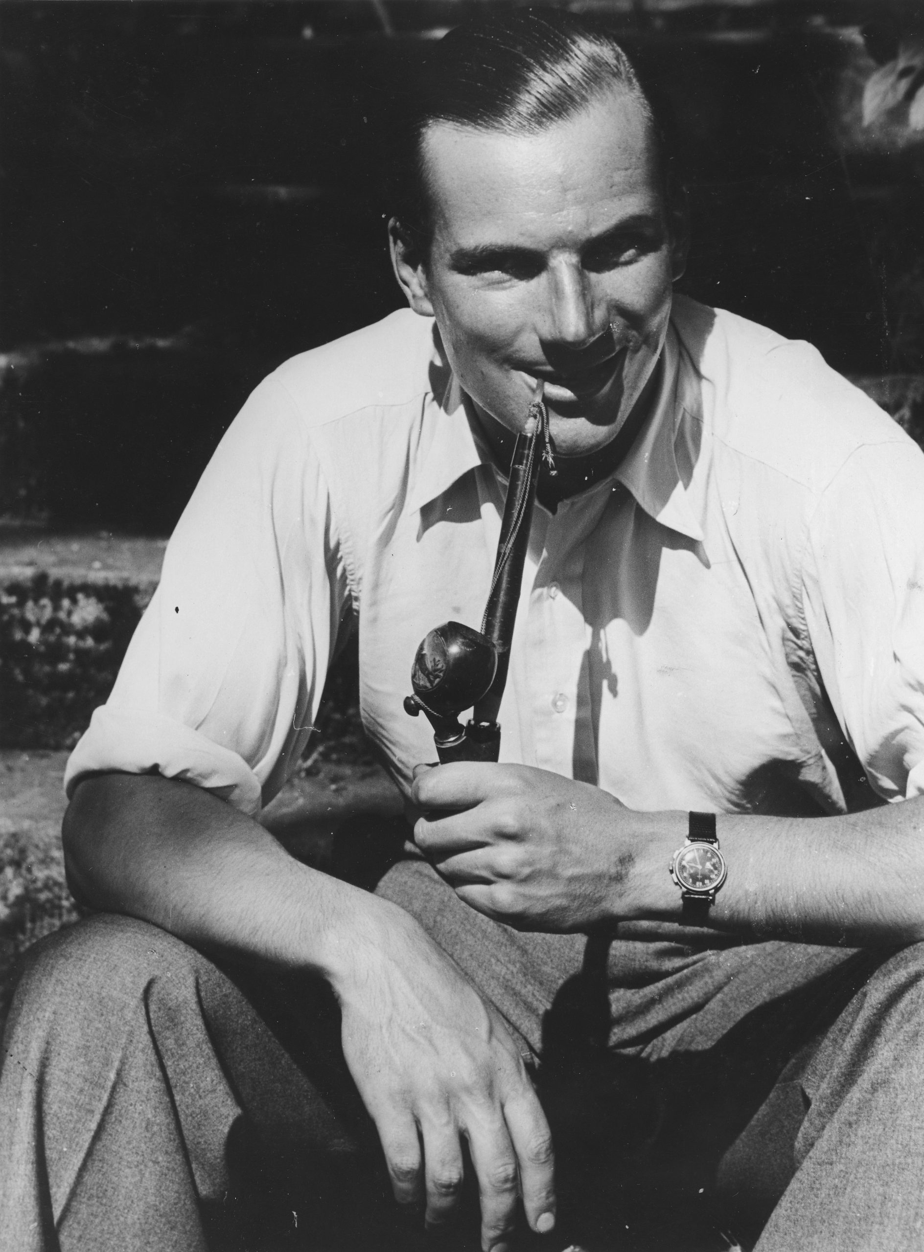 John Richard Beattie Seaman smoking pipe
