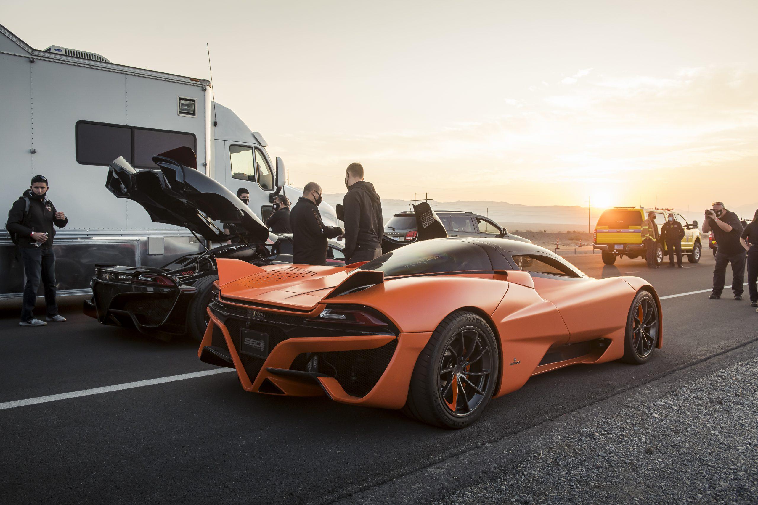 SSC Tuatara Production Car Speed Record orange rear three-quarter