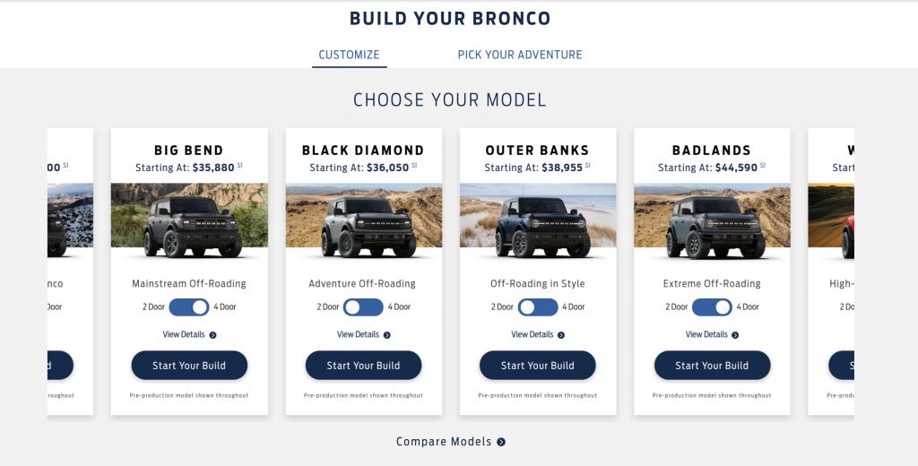 Ford Bronco configurator