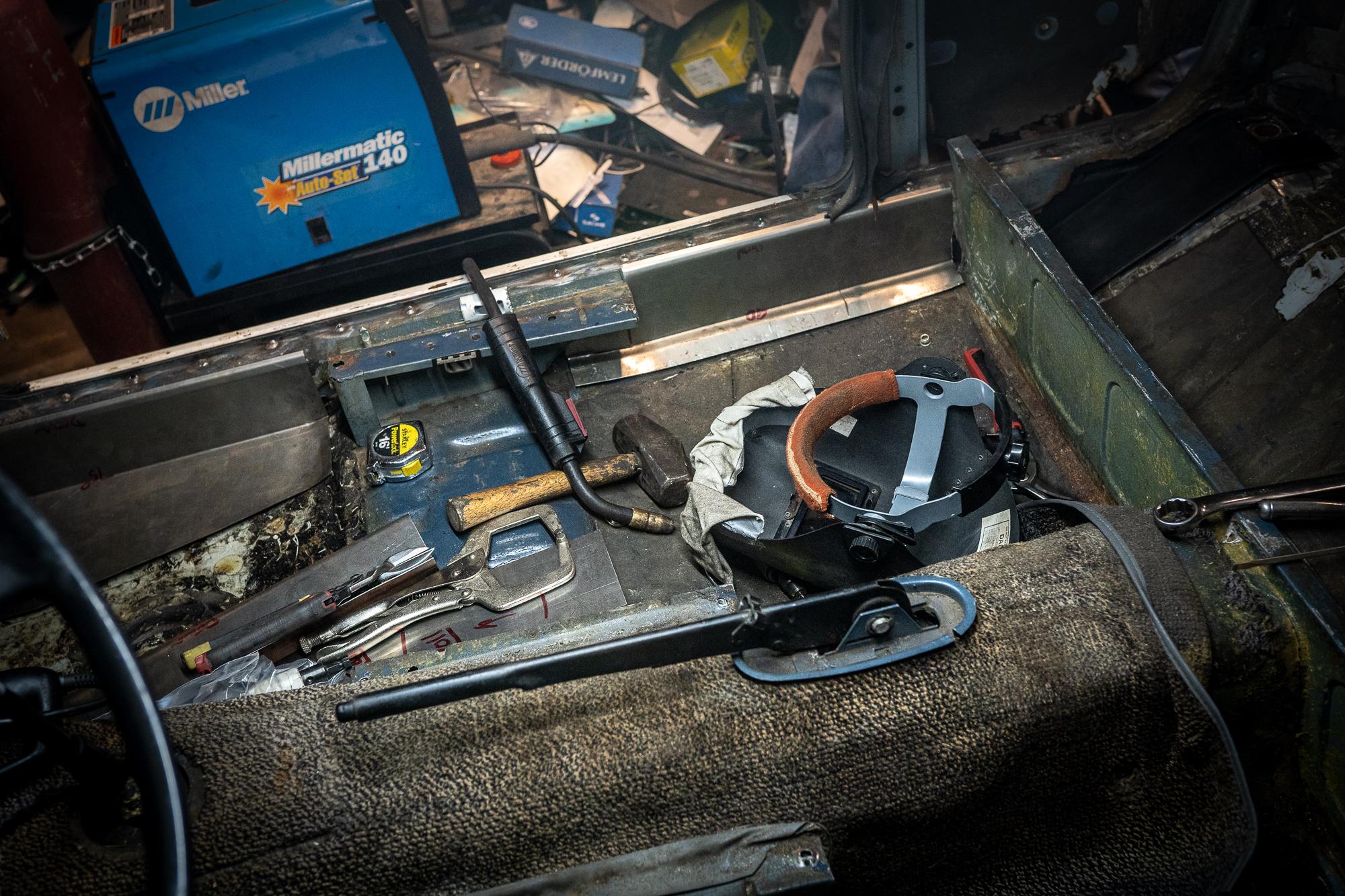 bmw 2002 resto tools on floor pan