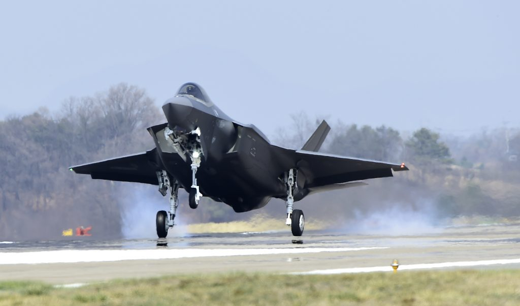 F35-A fighter jet landing south korea supplied via US