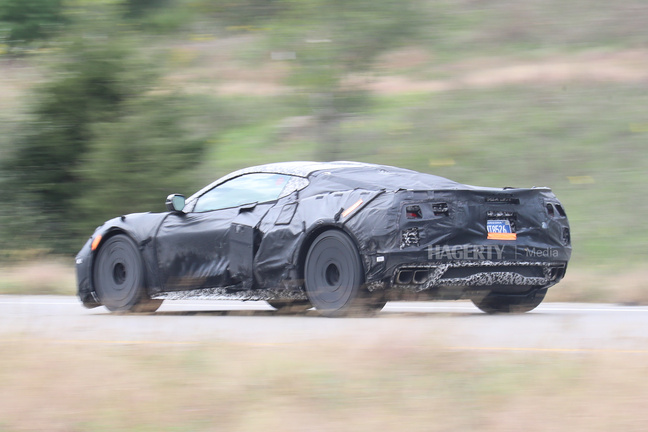 chevrolet c8 corvette z06 rear three-quarter camo spy shot