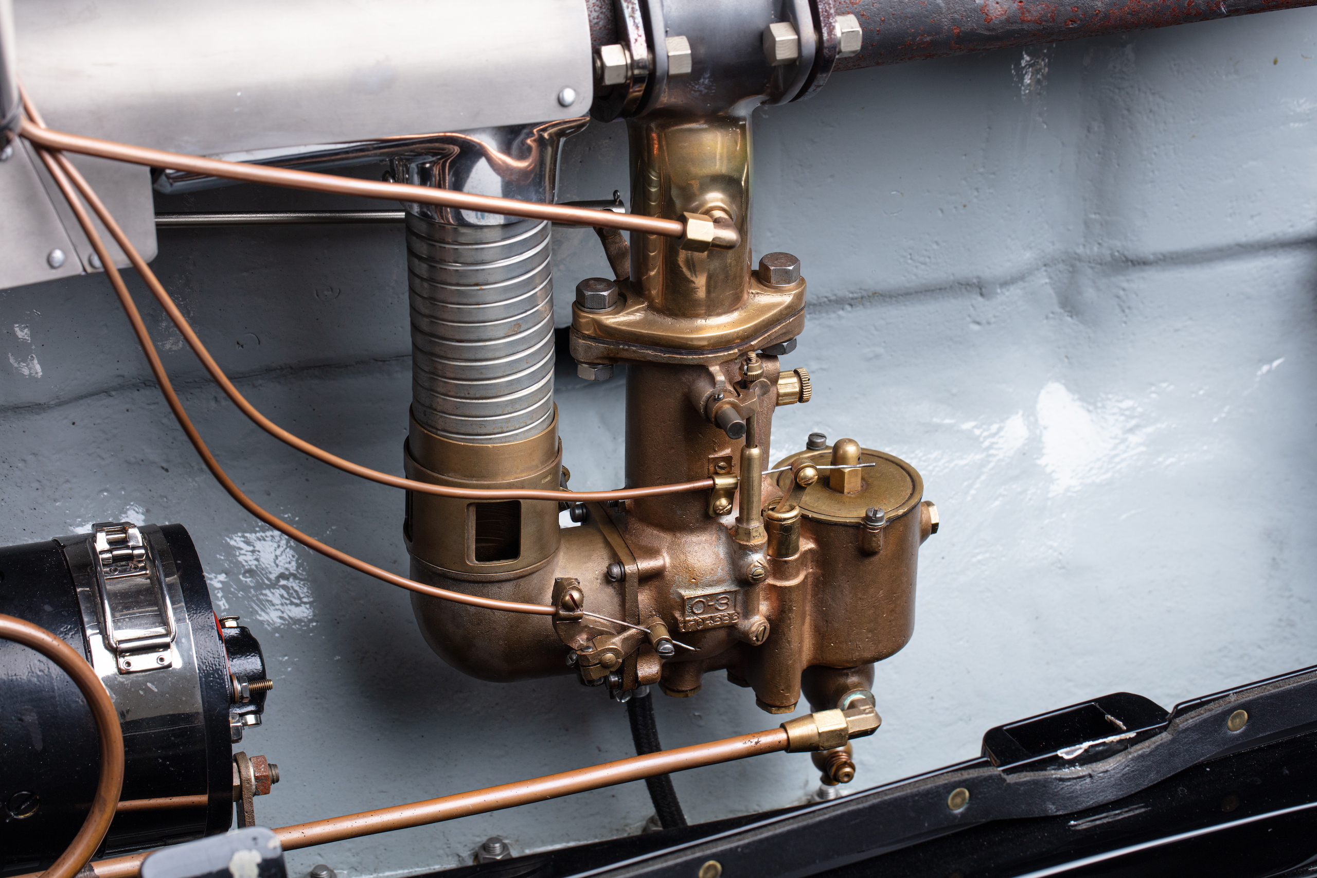 Duesenberg Model A carb close up