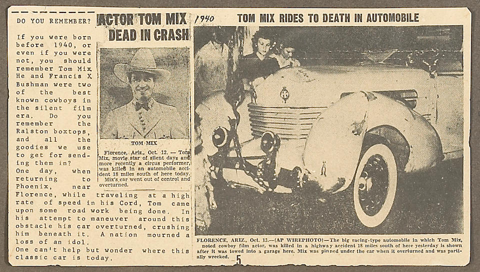 Tom Mix - newspaper story 1937 Cord crash