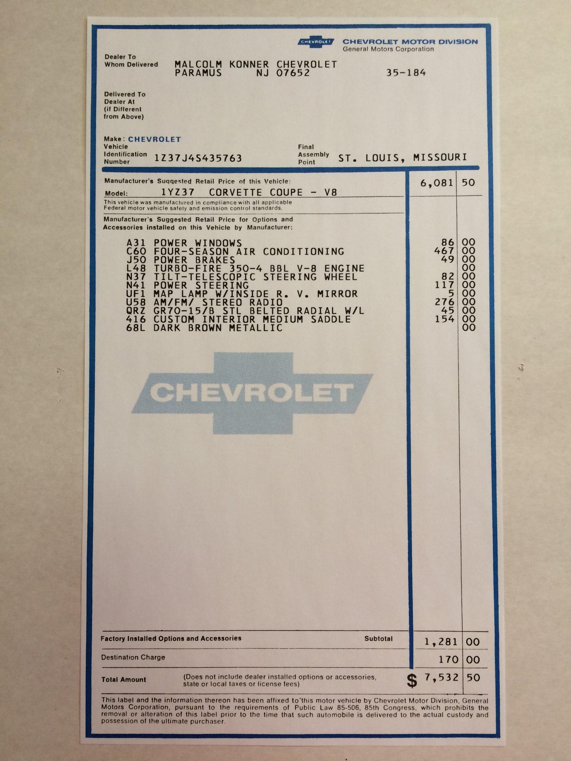 1974 Chevrolet Corvette Windowsticker