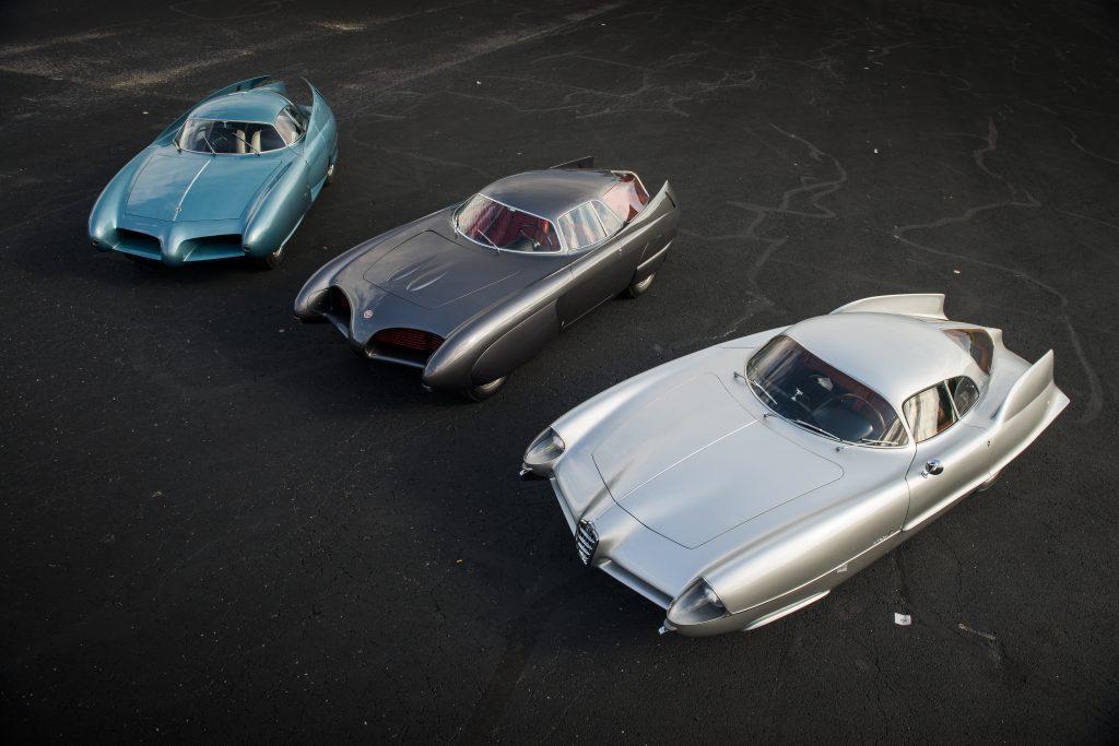 BAT bertone alfa romeo concept cars overhead together front