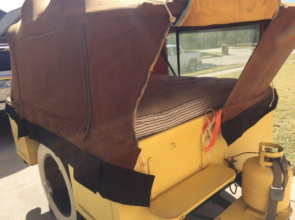 vintage rolls-royce camper trailer bed sleeping area