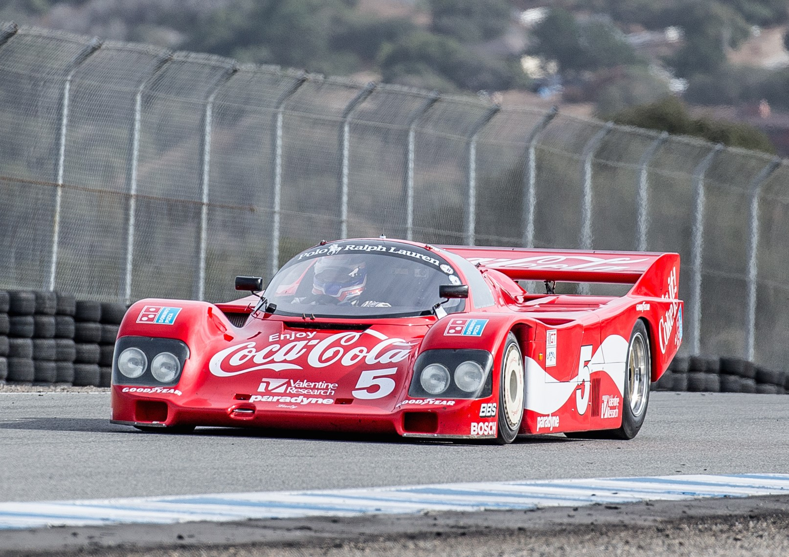 Laguna seca race car front three-quarter action
