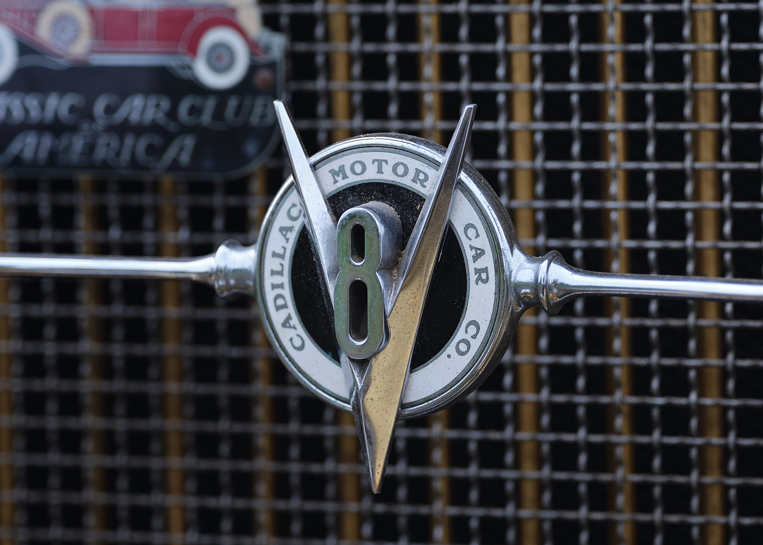 1931 Cadillac V-8 Convertible Coupe front grille emblem badge