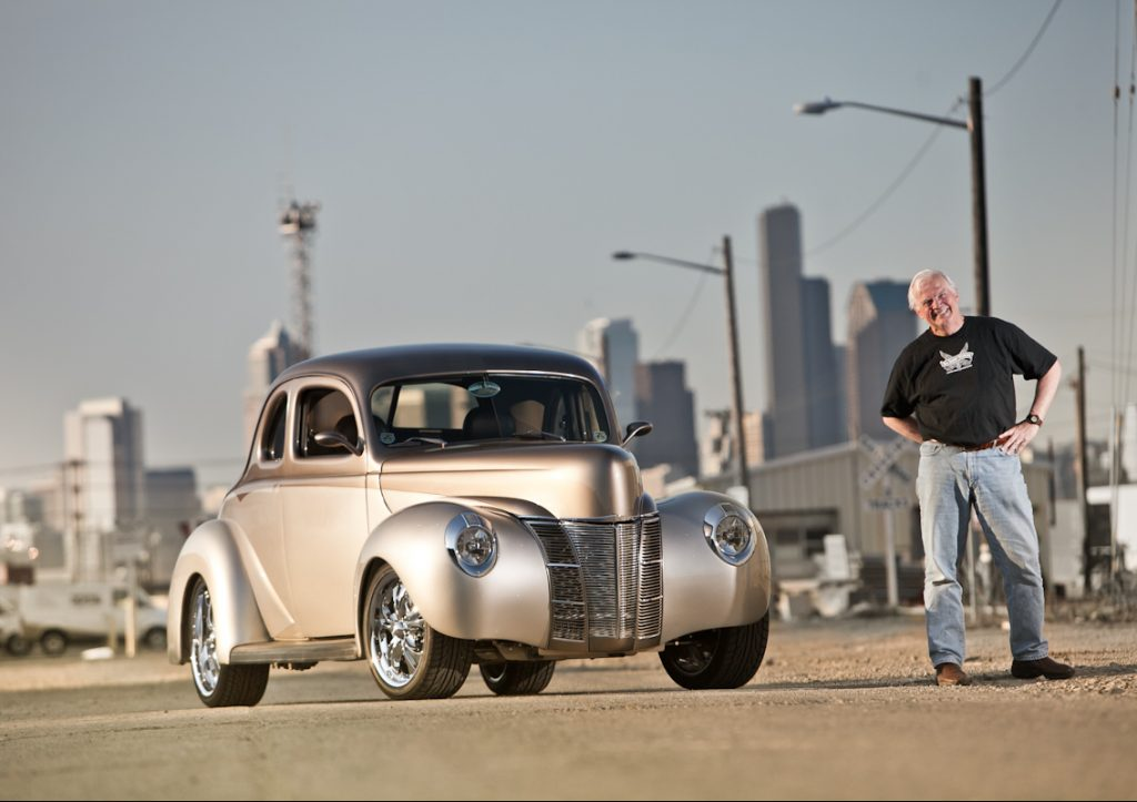 1940 ford deluxe thumper front three-quarter and owner
