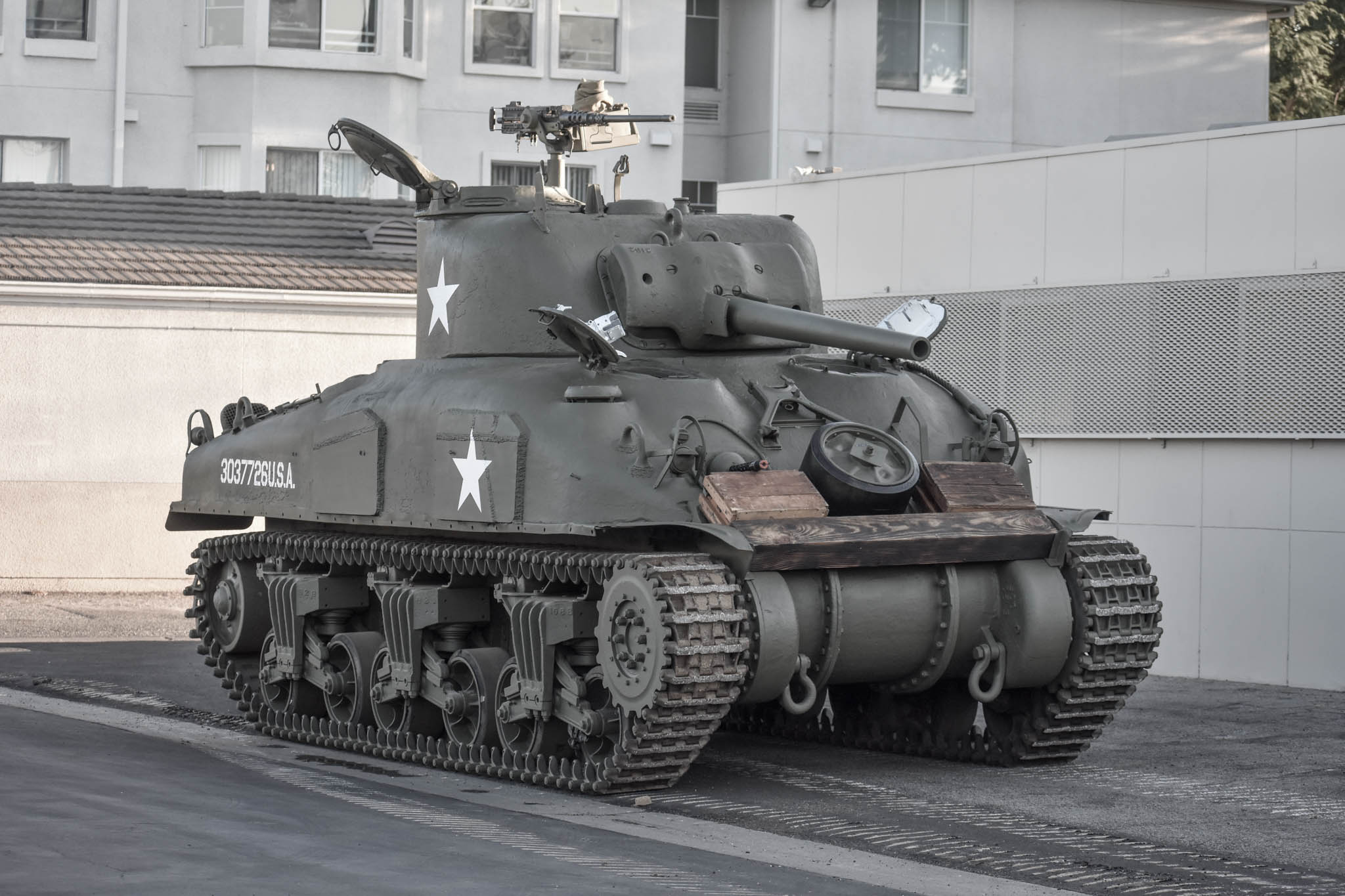 1943 M4A1 Sherman Tank front three-quarter