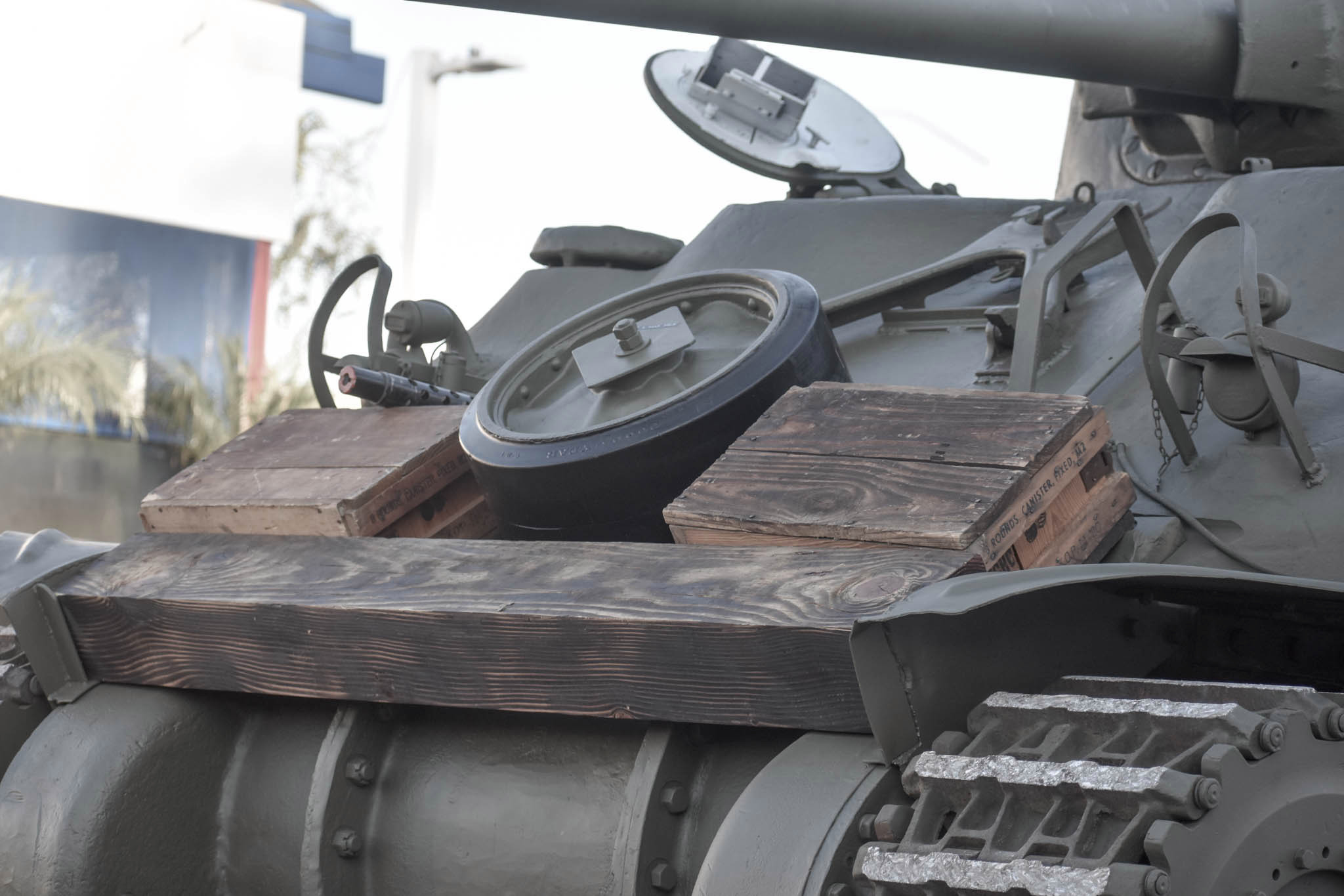1943 M4A1 Sherman Tank front wooden boxes and beam