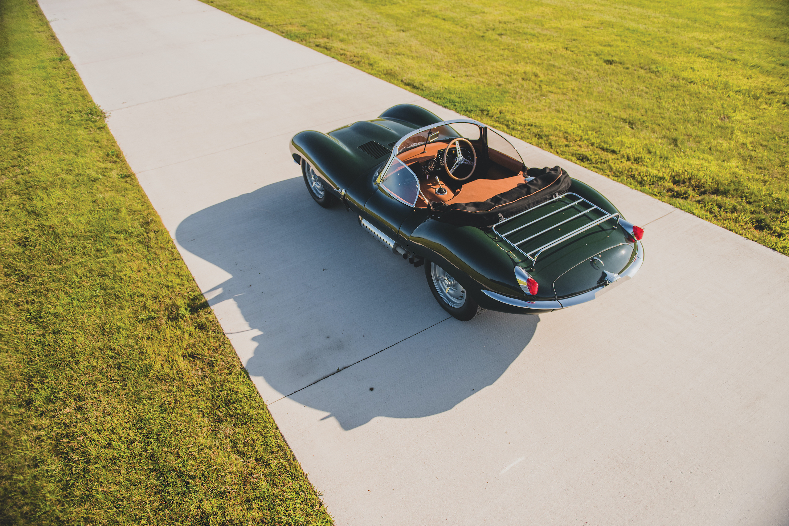 1957 Jag XKSS rear three-quarter overhead