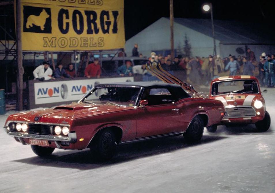 1969 Mercury Cougar XR7 Convertible - James Bond - Movie still - snow race scene