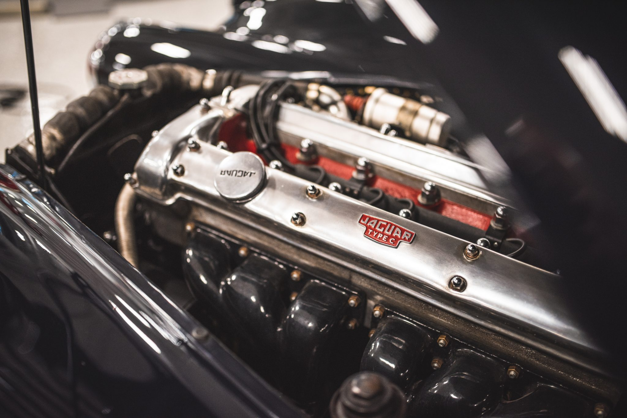 Jag C-Type engine valve cover detail