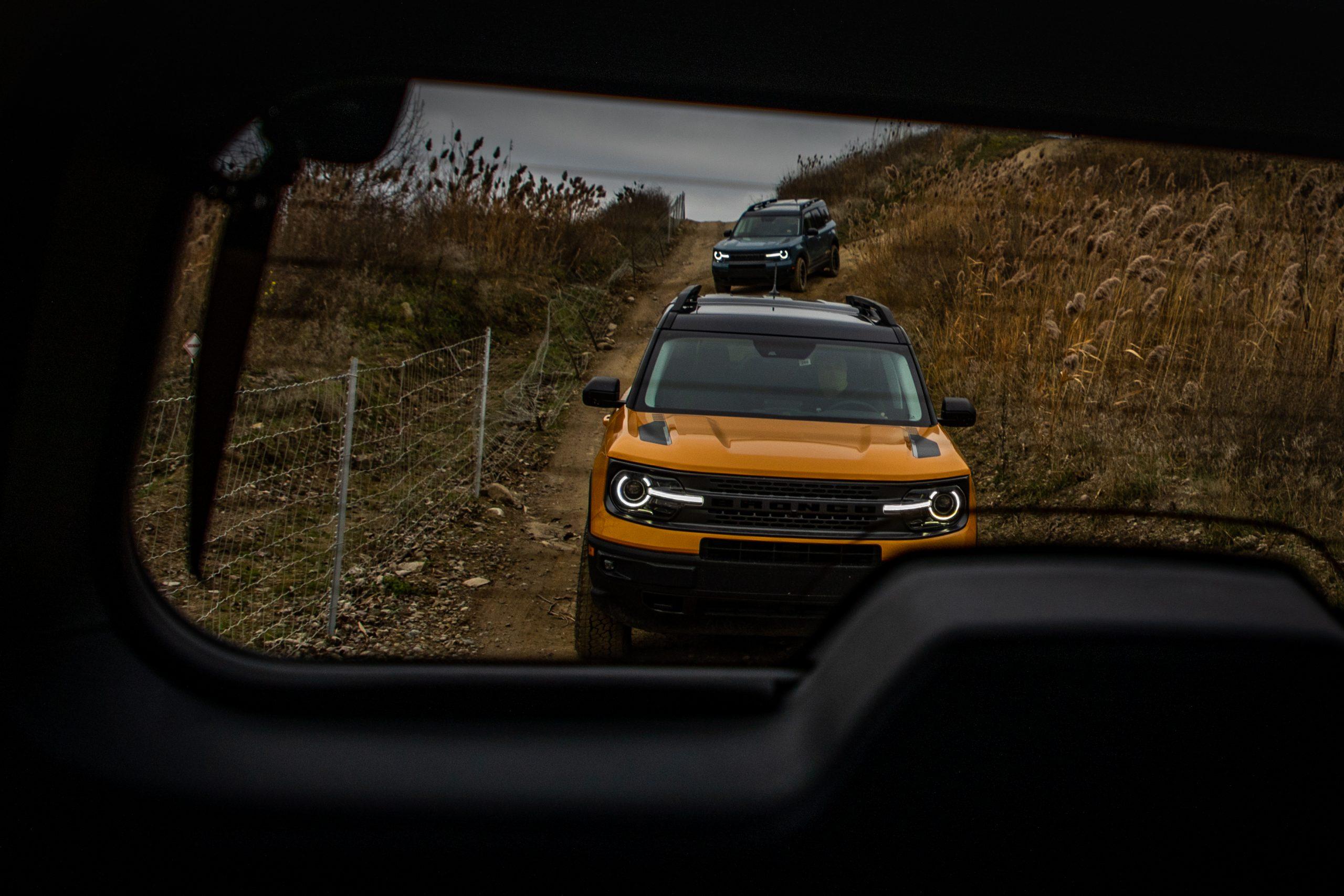 2021 Bronco Sport yellow through rear glass