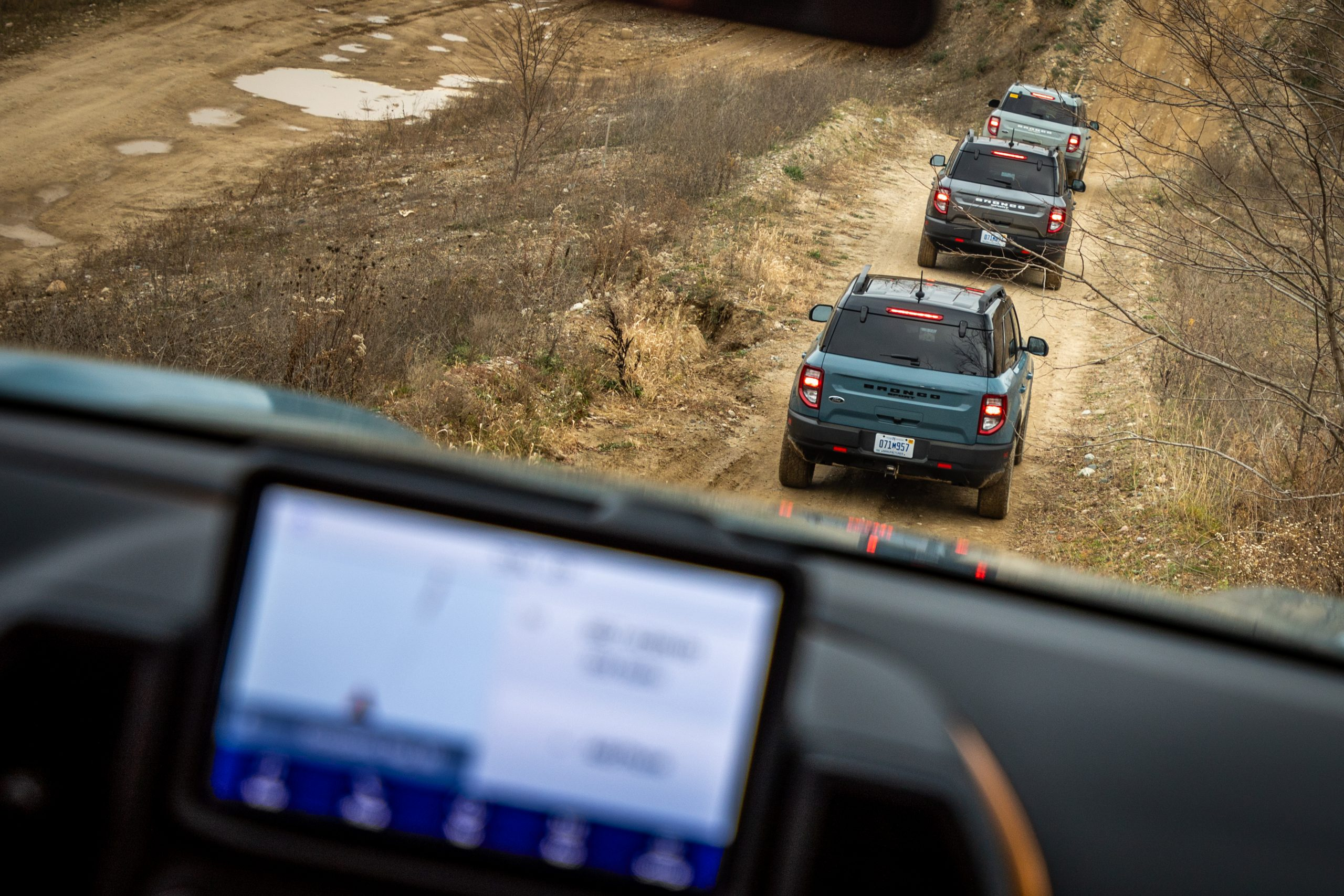 2021 Bronco Sport multiple vehicles on trail
