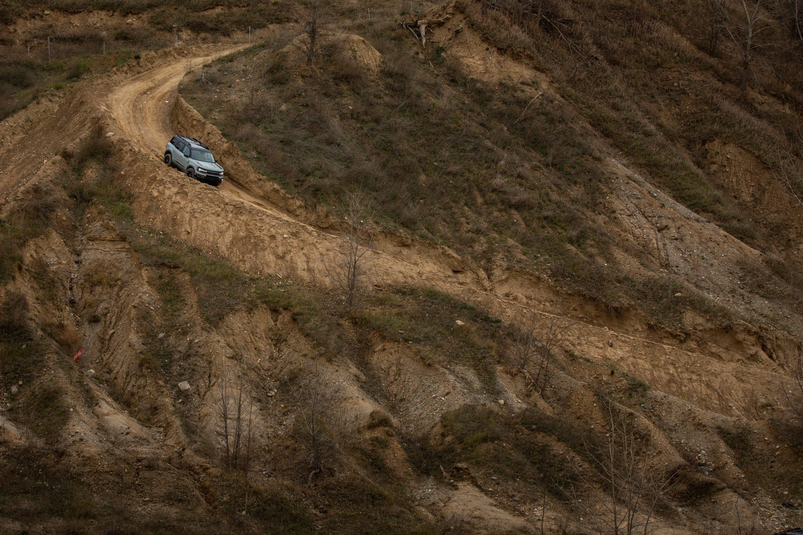 2021 Bronco Sport sweeping left hill descent